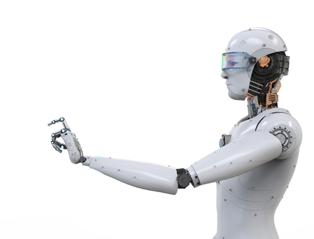 흰색 배경에 포인팅 3d 렌더링 흰색 로봇 손가락 스톡 콘텐츠 - 76171799