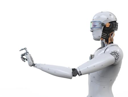 3D-rendering witte robotvinger wijzen op een witte achtergrond
