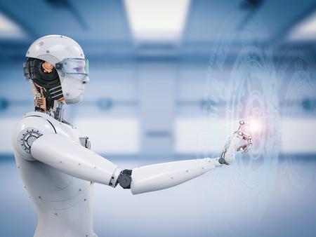 Robot di rendering 3d che lavora con visualizzazione virtuale Archivio Fotografico - 76171800