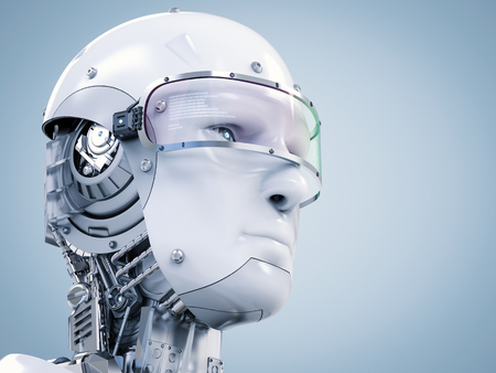 3d rendering cyborg face wearing eyeglasses with virtual display