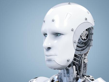 3d teruggevend cyborggezicht met virtuele vertoning in ogen