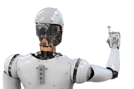 3d rendering rear view or robot with finger point on white background
