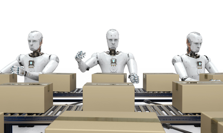 3d rendering robot working with carton boxes on conveyor belt Stock Photo