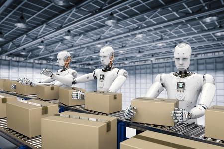 3d rendering robot working with carton boxes on conveyor belt Foto de archivo
