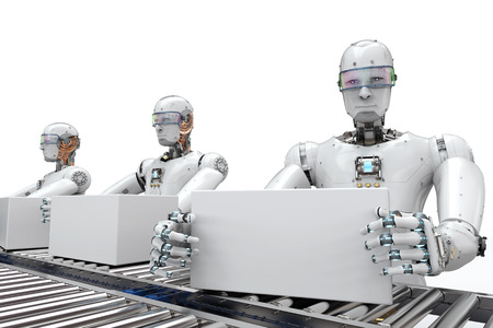 3d rendering robot working with white boxes on conveyor belt Stock Photo