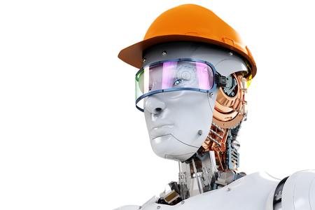 3d rendering engineer robot wearing safety helmet