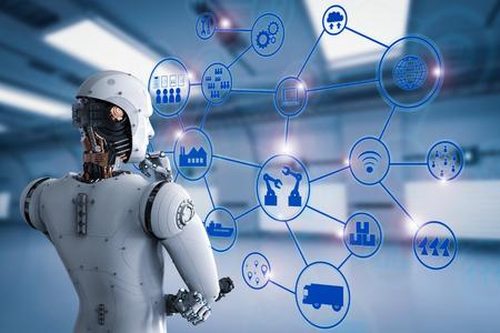 산업 네트워크와 안 드 로이드 로봇의 3d 렌더링 후면보기 스톡 콘텐츠