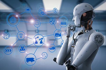 3d teruggevende androïde robot met industrieel netwerk
