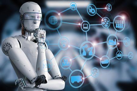 Procesamiento 3D robot androide con red industrial Foto de archivo - 76758838