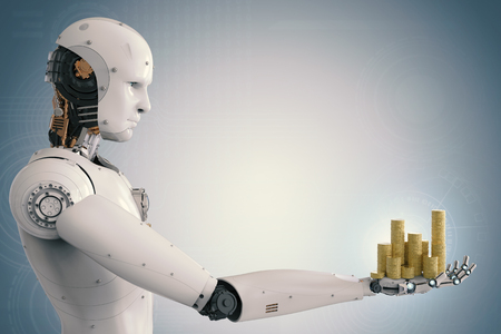 3d rendering android robot holding gold coins Foto de archivo