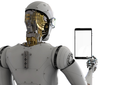 3d rendering rear view of robot holding tablet