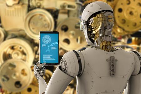 3D-Rendering-Ingenieur Roboter mit Tablet arbeiten