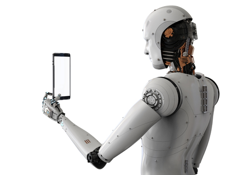 3d rendering android robot holding tablet on white background