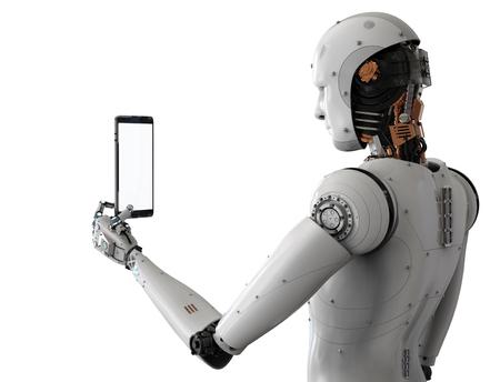3D-Rendering Android Roboter mit Tablet auf weißem Hintergrund