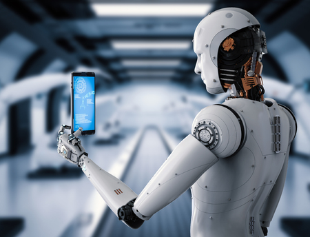 3d rendering android robot holding tablet in factory