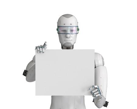 3d rendering robot holding blank white paper Stock Photo