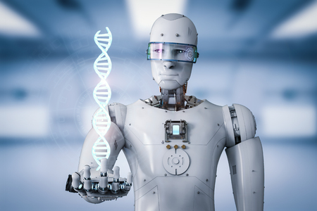 3d rendering android robot holding dna helix Stock Photo