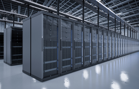 3d rendering server room or server computers stock photo picture