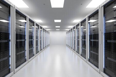 3d rendering server room or server computers Stock Photo