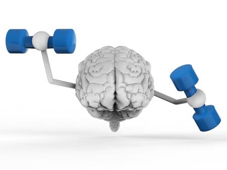 3d rendering brain holding dumbbells on white background