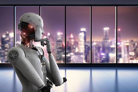 オフィスで 3 d のレンダリング アンドロイド ロボットの思考
