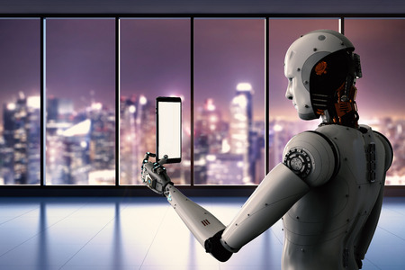 3d rendering robot holding tablet with cityscape background