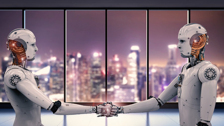 3d rendering robot hand shaking with cityscape background