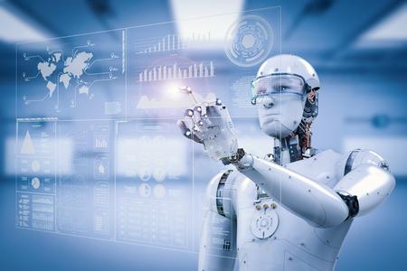 Robot de renderizado 3D trabajando con pantalla digital Foto de archivo - 79035850