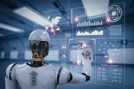 3d rendering robot working with digital display Zdjęcie Seryjne - 78737657