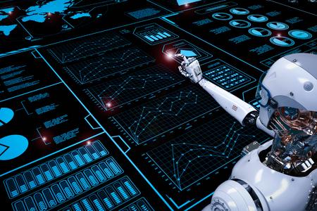디지털 디스플레이로 작업하는 3D 렌더링 로봇 스톡 콘텐츠 - 78875664