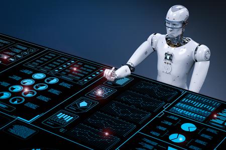 디지털 디스플레이로 작업하는 3D 렌더링 로봇