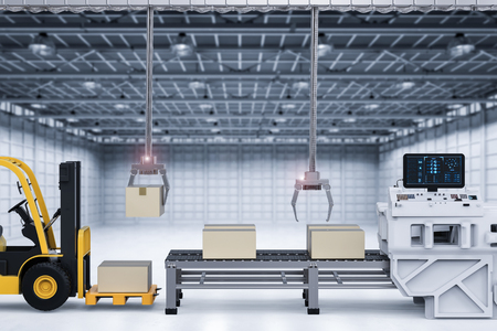 3d rendering robot arms working with cardboard boxes and forklift truck