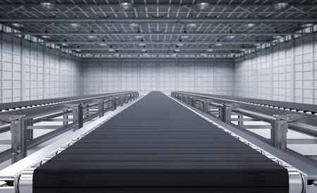 3d teruggevende rubbertransportband in fabriek