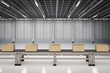 3d rendering carton boxes on conveyor belts in factory Stockfoto