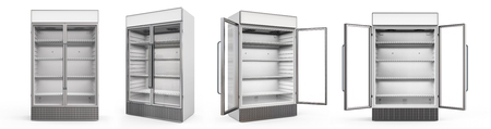 3d rendering empty commercial fridge with glass doors Stock Photo