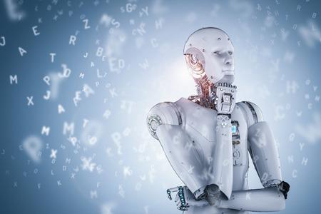 Procesamiento 3d aprendizaje de robots o aprendizaje de máquinas con alfabetos Foto de archivo - 80690038