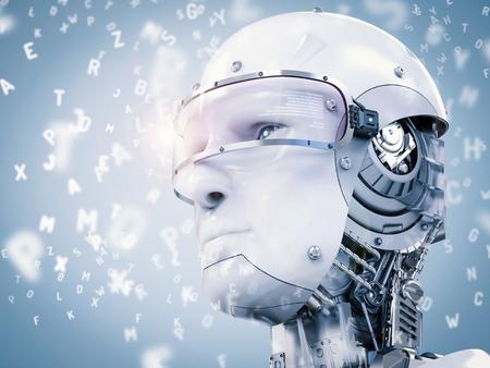 Grafika trójwymiarowa Robot nauki lub uczenia maszyn z alfabetów Zdjęcie Seryjne