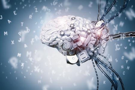 3d teruggevende robothersenen die op blauwe achtergrond leren