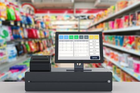 販売店管理システムの 3 d レンダリング ポイント 写真素材