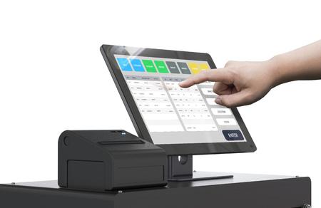 human hand working with 3d rendering cashier machine Foto de archivo