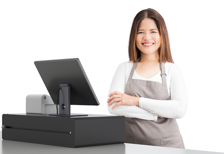 asian worker with 3d rendering cashier desk on white background