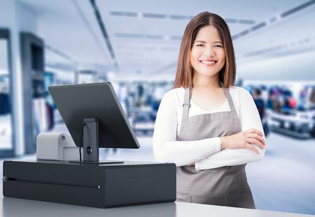 아시아 사업가와 3d 렌더링 출납원 데스크 저장소 스톡 콘텐츠 - 81161238