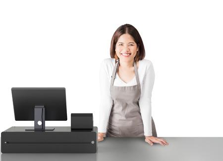 Aziatische werknemer met 3d rendering kassier op een witte achtergrond Stockfoto