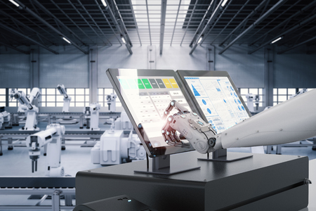 3d rendering robot working on monitor screen in factory Stockfoto