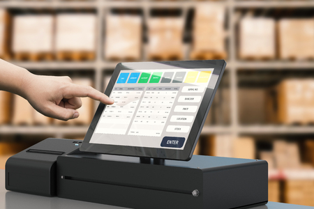 human hand working with 3d rendering cashier machine Foto de archivo