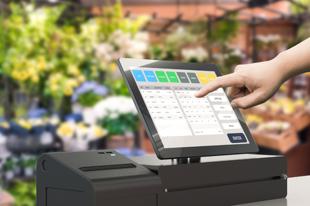 human hand working with 3d rendering cashier machine Stockfoto