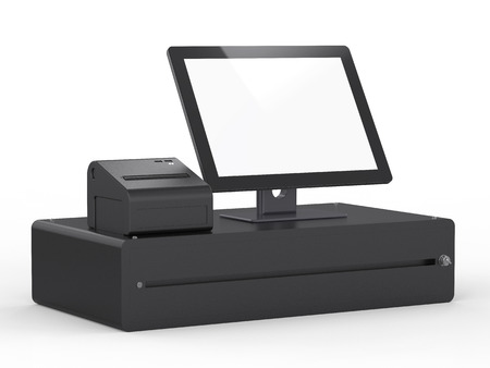 3d rendering empty screen cashier machine or cash register