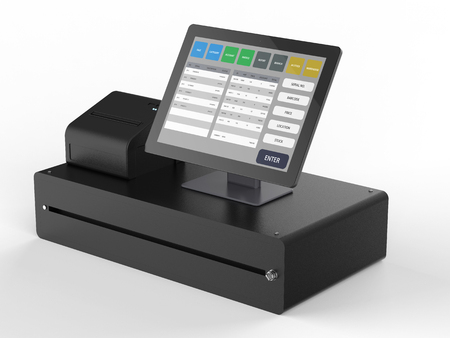 매장 관리를위한 판매 시스템의 3D 렌더링 시점