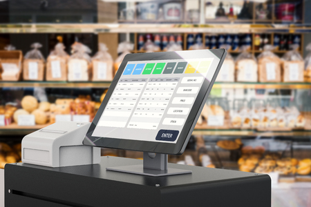 3d rendering point of sale system for store management Фото со стока - 81775366