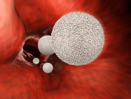 leukocyte: 3d rendering white blood cells in vein